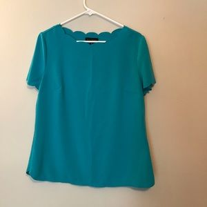 Investments Scalloped Neck Aqua Structured T-Shirt